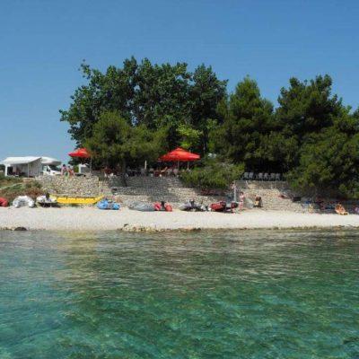 Blick auf Camping Kroatien am Meer